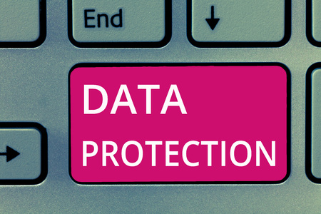 Foto de Conceptual hand writing showing Data Protection. Business photo showcasing Protect IP addresses and personal data from harmful software. - Imagen libre de derechos