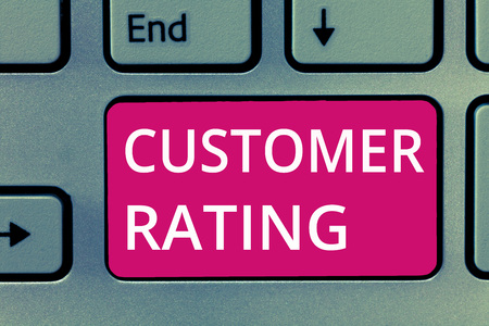 Photo pour Conceptual hand writing showing Customer Rating. Business photo showcasing Each point of the customers enhances the experience. - image libre de droit