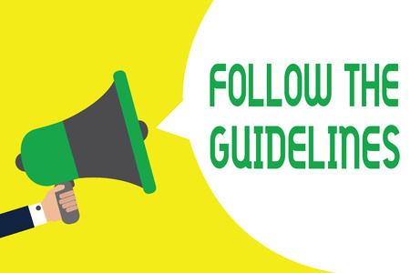 Photo pour A megaphone vector with a bubble text Follow The Guidelines. - image libre de droit