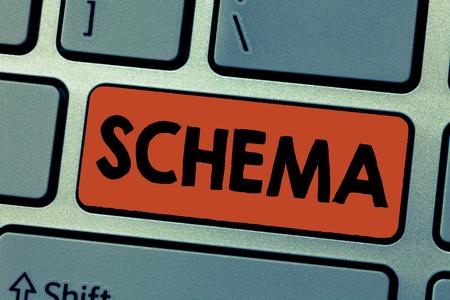 Foto de Writing note showing Schema. Business photo showcasing representation of plan or theory in form of outline or model. - Imagen libre de derechos