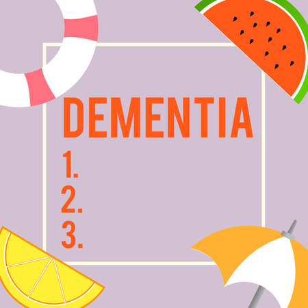 Foto de Text sign showing Dementia. Conceptual photo Impairment in memory Loss of cognitive functioning Brain disease. - Imagen libre de derechos