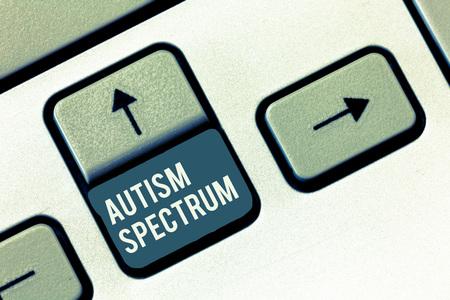 Foto de Writing note showing Autism Spectrum. Business photo showcasing impairments in the ability to communicate and socialize. - Imagen libre de derechos