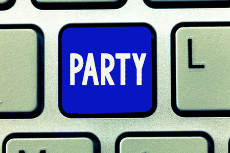 Photo for Writing note showing Party. Business photo showcasing social gathering invited guests involve eating drinking entertainment. - Royalty Free Image