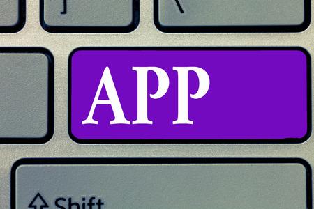 Foto de Word writing text App. Business concept for Computer program Download software by a user to a mobile device. - Imagen libre de derechos