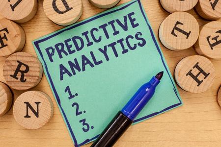 Foto de Handwriting text Predictive Analytics. Concept meaning Optimize Collection Achieve CRMIdentify Customer. - Imagen libre de derechos