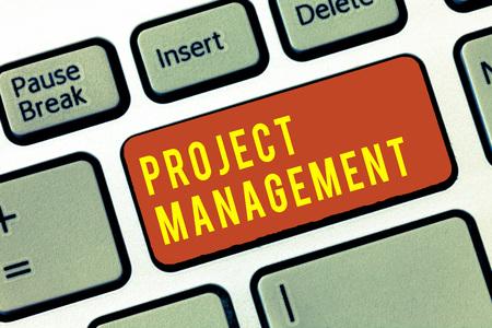 Foto de Handwriting text Project Management. Concept meaning Application Process Skills to Achieve Objectives and Goal. - Imagen libre de derechos