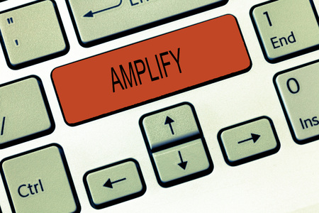 Photo for Word writing text Amplify. Business concept for Make something bigger louder increase the volume using amplifier. - Royalty Free Image