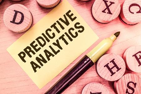 Foto de Handwriting text writing Predictive Analytics. Concept meaning Optimize Collection Achieve CRMIdentify Customer. - Imagen libre de derechos