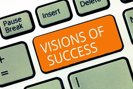 Photo pour Text sign showing Visions Of Success. Conceptual photo Clear End Result of Purpose Goal Perspective Plan. - image libre de droit