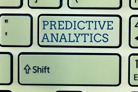 Foto de Conceptual hand writing showing Predictive Analytics. Business photo showcasing Optimize Collection Achieve CRMIdentify Customer. - Imagen libre de derechos