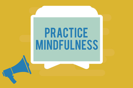 Photo pour Writing note showing Practice Mindfulness. Business photo showcasing achieve a State of Relaxation a form of Meditation. - image libre de droit