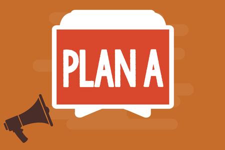 Foto de Conceptual hand writing showing Plan A. Business photo text ones original plan or strategy detailed proposal for doing something. - Imagen libre de derechos