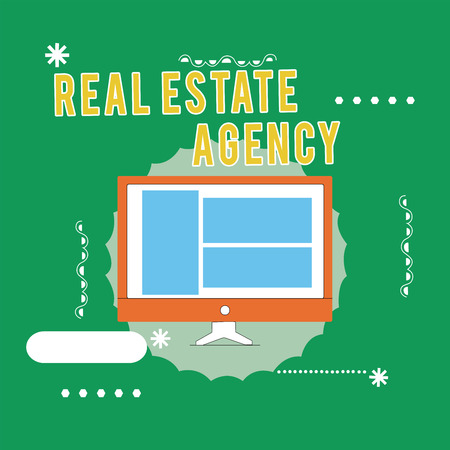 Photo pour Conceptual hand writing showing Real Estate Agency. Business photo text Business Entity Arrange Sell Rent Lease Manage Properties. - image libre de droit