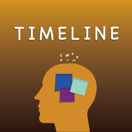 Foto de Writing note showing Timeline. Business photo showcasing graphical representation of period time on which events are marked Sticky Note analysis Face Profile Silhouette Math sign above - Imagen libre de derechos