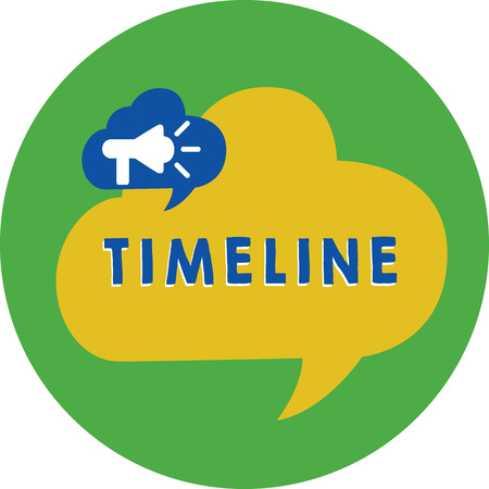 Foto de Word writing text Timeline. Business concept for graphical representation of period time on which events are marked Megaphone in Speech Bubble Announcing Text Balloon Overlay Inside Circle - Imagen libre de derechos
