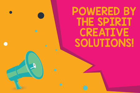 Photo pour Conceptual hand writing showing Powered By The Spirit Creative Solutions. Business photo text Powerful new alternatives ideas Megaphone Loudspeaker and Blank Geometric shape Half Speech Bubble - image libre de droit