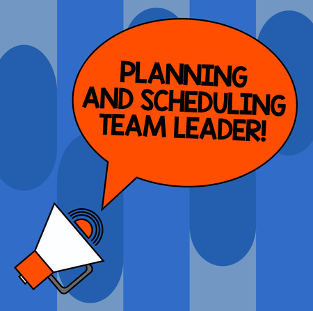 Foto de Writing note showing Planning And Scheduling Team Leader. Business photo showcasing Project analysisagement business leadership Oval Outlined Speech Bubble Text Balloon Megaphone with Sound icon - Imagen libre de derechos