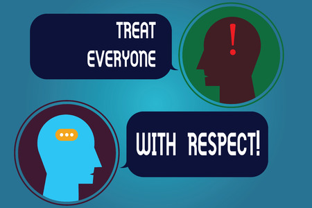 Photo for Writing note showing Treat Everyone With Respect. Business photo showcasing Be respectful to others Have integrity Messenger Room with Chat Heads Speech Bubbles Punctuations Mark icon - Royalty Free Image