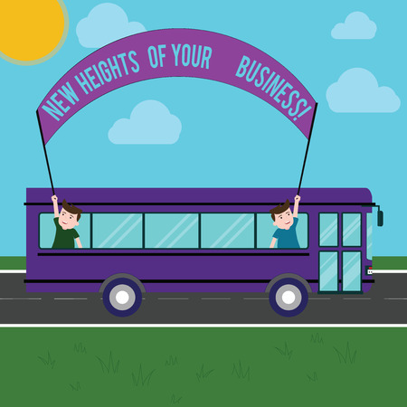 Photo for Text sign showing New Heights Of Your Business. Conceptual photo Achieving goals fast growing up company Two Kids Inside School Bus Holding Out Banner with Stick on a Day Trip - Royalty Free Image