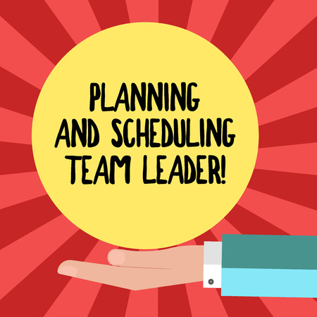 Foto de Conceptual hand writing showing Planning And Scheduling Team Leader. Business photo showcasing Project analysisagement business leadership Hu analysis Hand Offering Solid Color Circle Posters - Imagen libre de derechos