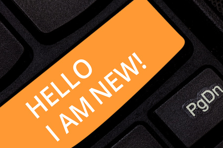 Photo for Writing note showing Hello I Am New. Business photo showcasing Introducing yourself to unknown showing newbie in the team Keyboard key Intention to create computer message pressing keypad idea - Royalty Free Image