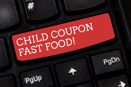 Foto de Writing note showing Child Coupon Fast Food. Business photo showcasing Ticket discount savings junk meals for kids Keyboard key Intention to create computer message pressing keypad idea - Imagen libre de derechos