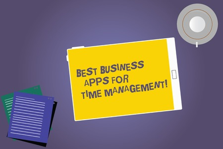 Foto de Text sign showing Best Business Apps For Time Management. Conceptual photo Quality modern applications Tablet Empty Screen Cup Saucer and Filler Sheets on Blank Color Background - Imagen libre de derechos