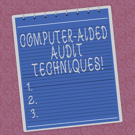Photo pour Writing note showing Computer Aided Audit Techniques. Business photo showcasing Using computer to automate IT audit process Lined Spiral Top Color Notepad photo on Watermark Printed Background - image libre de droit