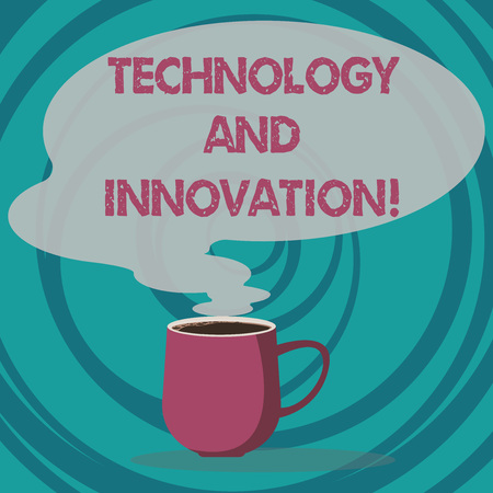 Photo for Writing note showing Technology And Innovation. Business photo showcasing Technological changes of products and services Mug of Hot Coffee with Blank Color Speech Bubble Steam icon - Royalty Free Image