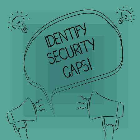 Photo for Conceptual hand writing showing Identify Security Gaps. Business photo text determine whether the controls in place are enough Freehand Outline Sketch of Speech Bubble Megaphone Idea Icon - Royalty Free Image