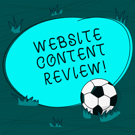 Foto de Conceptual hand writing showing Website Content Review. Business photo text evaluate the process that assess and improve content Soccer Ball on the Grass and Blank Round Color Shape photo - Imagen libre de derechos