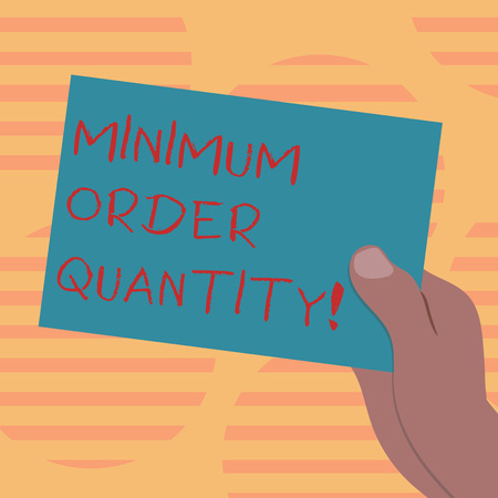 Foto de Word writing text Minimum Order Quantity. Business concept for lowest quantity of a product a supplier can sell Drawn Hu analysis Hand Holding Presenting Blank Color Paper Cardboard photo - Imagen libre de derechos