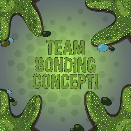 Foto de Word writing text Team Bonding Concept. Business concept for Improve workplace projects that involve teamwork Starfish photo on Four Corners with Colorful Pebbles for Poster Ads Cards - Imagen libre de derechos