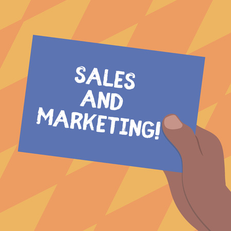 Foto de Text sign showing Sales And Marketing. Conceptual photo activities for selling and advertising products Drawn Hu analysis Hand Holding Presenting Blank Color Paper Cardboard photo - Imagen libre de derechos
