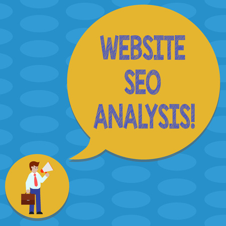 Foto de Word writing text Website Seo Analysis. Business concept for Process of making changes to increase site visibility Man in Necktie Carrying Briefcase Holding Megaphone Blank Speech Bubble - Imagen libre de derechos