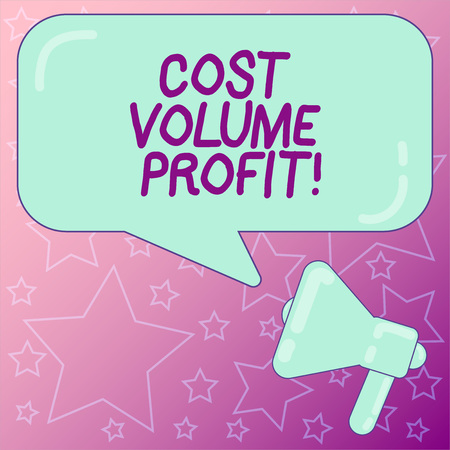 Photo pour Handwriting text writing Cost Volume Profit. Concept meaning form of cost accounting and It is simplified model Megaphone photo and Blank Rectangular Color Speech Bubble with Reflection - image libre de droit