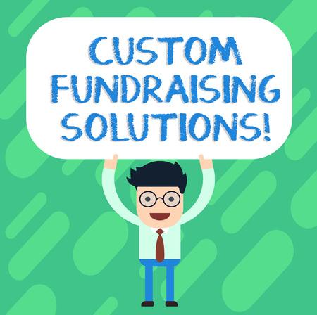 Foto de Handwriting text Custom Fundraising Solutions. Concept meaning software to help raising money online Man Standing Holding Above his Head Blank Rectangular Colored Board - Imagen libre de derechos