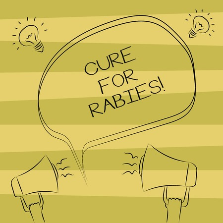 Text sign showing Cure For Rabies. Conceptual photo Vaccination medicines to fight against illness lethal virus Freehand Outline Sketch of Blank Speech Bubble Megaphone Sound Idea Icon