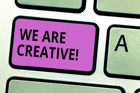 Photo pour Writing note showing We Are Creative. Business photo showcasing To have a lot of creativity original ideas good for design Keyboard key Intention to create computer message pressing keypad idea - image libre de droit