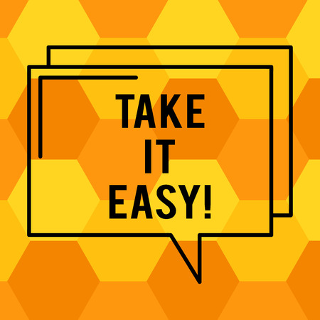 Photo pour Handwriting text writing Take It Easy. Concept meaning Be relaxed do not worry about things stay calmed and rest Rectangular Outline Transparent Comic Speech Bubble photo Blank Space - image libre de droit