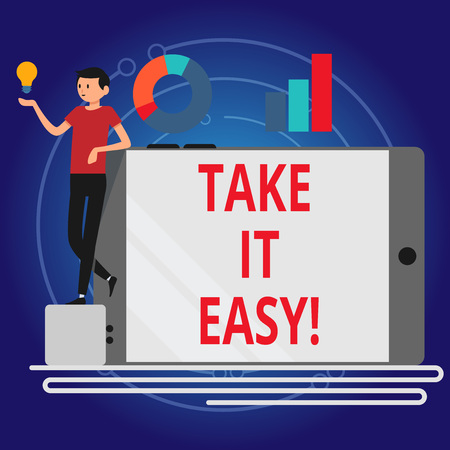 Photo pour Writing note showing Take It Easy. Business photo showcasing Be relaxed do not worry about things stay calmed and rest - image libre de droit
