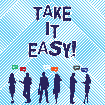 Photo pour Text sign showing Take It Easy. Conceptual photo Be relaxed do not worry about things stay calmed and rest - image libre de droit