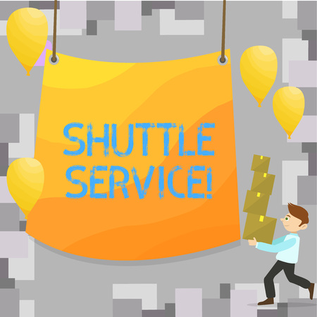 Foto per Writing note showing Shuttle Service. Business photo showcasing Transportation Offer Vacational Travel Tourism Vehicle - Immagine Royalty Free