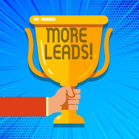 Foto de Writing note showing More Leads. Business concept for Give additional potential clients customers - Imagen libre de derechos