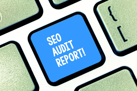 Photo for Text sign showing Seo Audit Report. Business photo text analysis website based on factors important search engines Keyboard key Intention to create computer message pressing keypad idea - Royalty Free Image