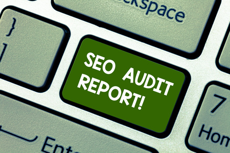 Photo for Conceptual hand writing showing Seo Audit Report. Concept meaning analysis website based on factors important search engines Keyboard key Intention to create computer message idea - Royalty Free Image