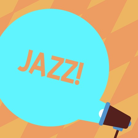 Foto de Text sign showing Jazz. Business photo showcasing Type of music of black American origin Musical genre Strong rhythm Blank Round Color Speech Bubble Coming Out of Megaphone for Announcement - Imagen libre de derechos