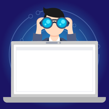 Ilustración de Man Holding and Looking into Binocular Behind Open Blank Space Laptop Screen Design business concept Empty copy space modern abstract background - Imagen libre de derechos