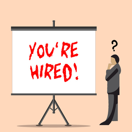 Photo for Word writing text You Re Hired. Business photo showcasing Used by huanalysis resources indicate employee that he is got job Businessman with Question Mark Above his Head Standing Beside Blank Screen - Royalty Free Image
