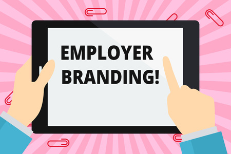 Foto de Word writing text Employer Branding. Business photo showcasing promoting company employer choice to desired target group Hand Holding Pointing Touching Blank Rectangular Color Tablet White Screen - Imagen libre de derechos